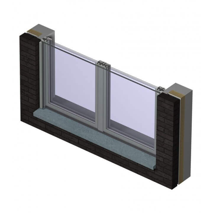 rb glass balcony door + glass balustrade_horionzontal section